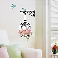1PCS 다채로운 DIY 새장과 꽃 벽 스티커