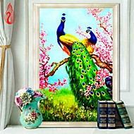 1PC DIY Round Diamond Painting Cross Stitch Diamonds Embroidery Peacock and Peony Blossoming Diamond Mosaic 89*50cm