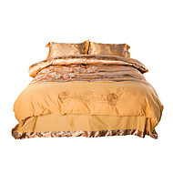 Simple Opulence 100% Cotton  Golden Satin Jacquard Silk Duvet Cover Set