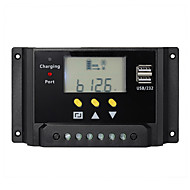 20A 12V 24V LCD Solar Controller Battery Charge Regulator Dual USB Timer Control