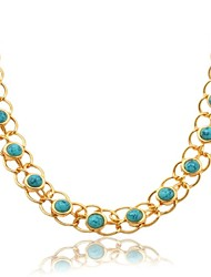 U7® Turquoise Necklace 18K Real Gold Plated Turkish Stone Choker Necklace Jewelry Gift for Women 55CM