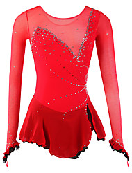 Ice Skating Dress Women's Long Sleeve Skating Dresses High Elasticity Figure Skating Dress Breathable / Wearable Spandex / Mesh/Net Red