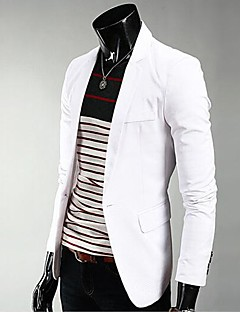 Men's Solid Casual Blazer,PU Long Sleeve Black / Blue / Brown / Green / Red / White