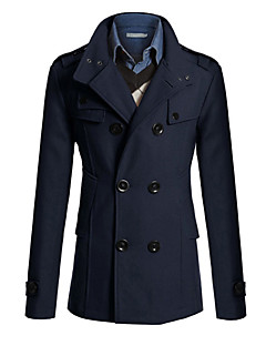 Men's Solid Casual / Work Trench coat,Polyester / Wool Blend Long Sleeve-Black / Blue / Brown / Gray