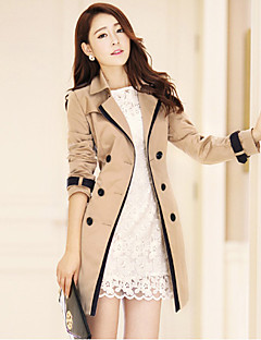 Women's Solid Black / Beige Trench Coat , Casual / Plus Sizes Long Sleeve Cotton / Polyester / Nylon COAT8