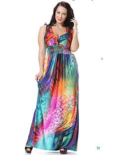 30734f2923ad γλυκό καμπύλη των γυναικών παραλία σκέιτερ φόρεμα, floral βαθύ V maxi χωρίς  μανίκι άνοιξη μωβ