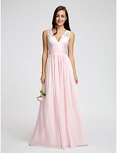 Lanting Bride Floor-length Chiffon Bridesmaid Dress A-line V-neck with Lace / Sash / Ribbon / Ruching