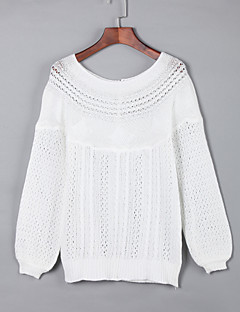 Women's Casual/Daily Street chic Regular Pullover,Solid White Gray Boat Neck Long Sleeve Acrylic Winter Medium Micro-elastic