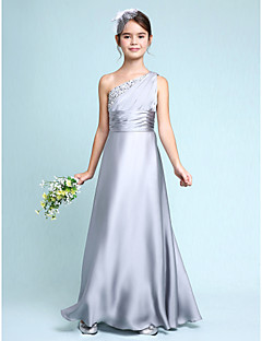 Lanting Bride® Floor-length Chiffon Junior Bridesmaid Dress Sheath / Column One Shoulder with Side Draping / Ruching