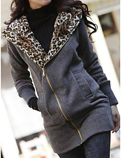Women's Coat,Leopard Round Neck Long Sleeve Winter White / Black Cotton Thick
