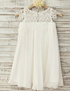 Flower Girl Dress Sheath / Column Knee-length - Chiffon / Lace Short Sleeve Scoop