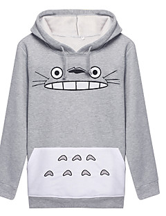Inspired by My Neighbor Totoro Cat Anime Cosplay Costumes Cosplay Hoodies Print White / Gray Long Sleeve Coat